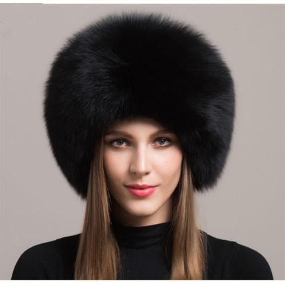 luxeden Russian trooper/ushanka hat-fox fur with leather-black .
