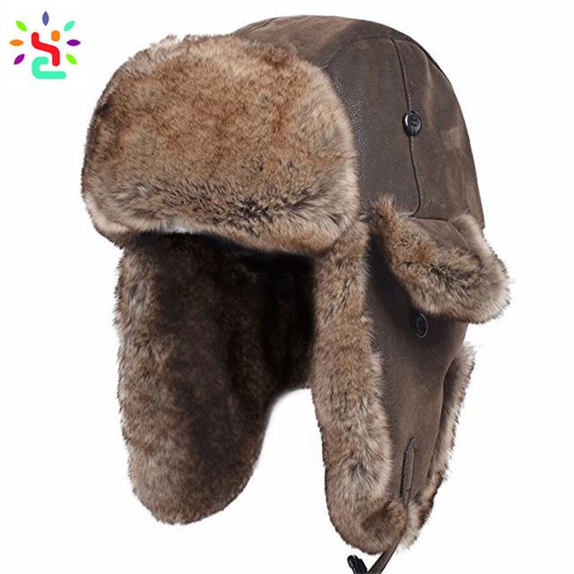 Russian Military Ushanka Hat Faux Fur Ushanka Aviator Hat .