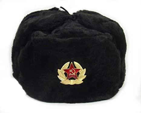 SIBERHAT Russian Soviet Army Black KGB Fur Military Cossack .