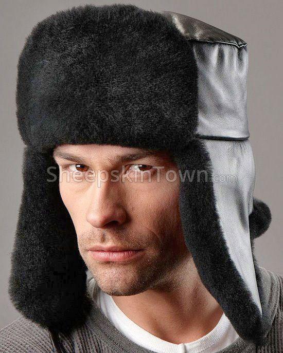 Russian Ushanka Hat - Sheepskin & Leather - Black: Sheepskin To