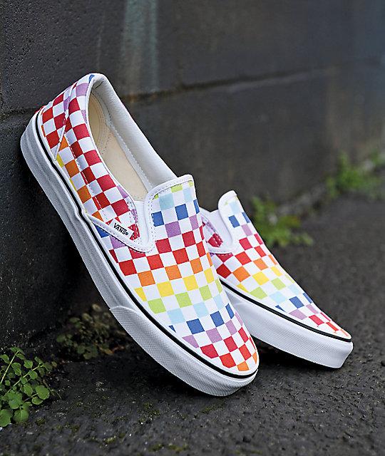 Vans Slip-On Rainbow Checkerboard Skate Shoes | Zumi