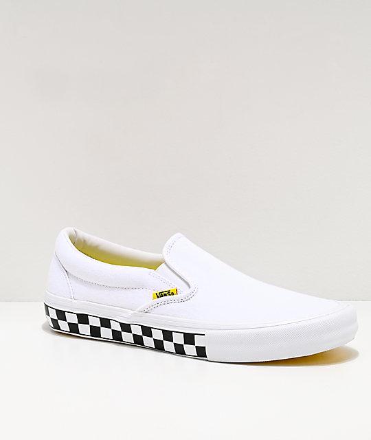 Vans Slip-On Pro Checkerboard White & Yellow Skate Shoes | Zumi