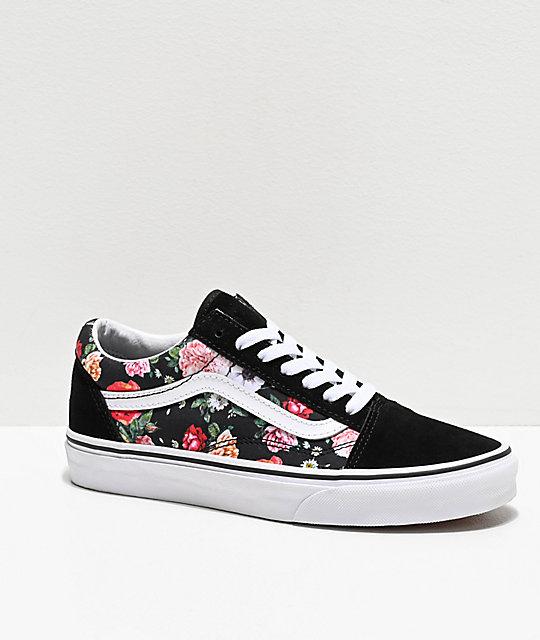 Vans Old Skool Garden Floral & Black Skate Shoes | Zumi