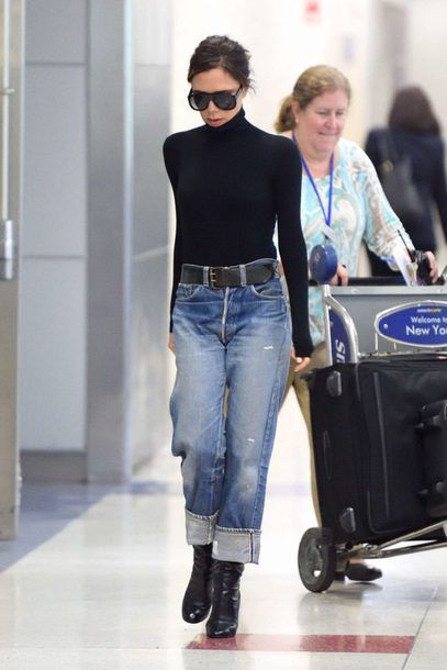 jeans, victoria beckham, turtleneck, fall outfits, denim, top .