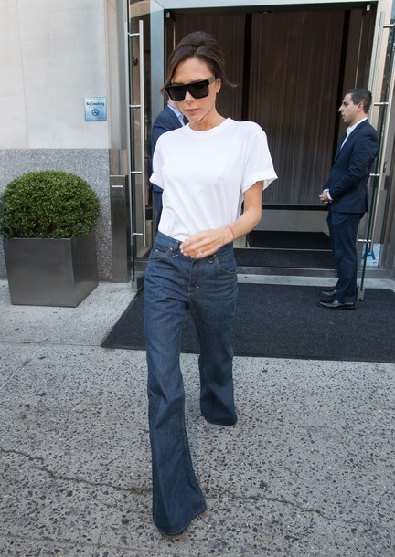 jeans, top, white top, victoria beckham, flare jeans, streetstyle .