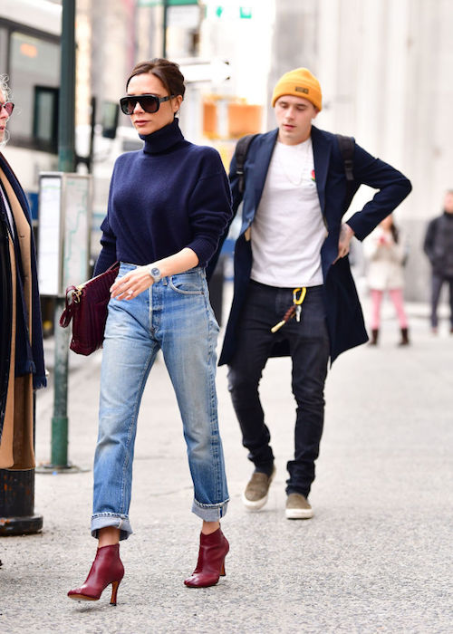 Victoria Beckham surprises in casual 'mom' jeans at New York .