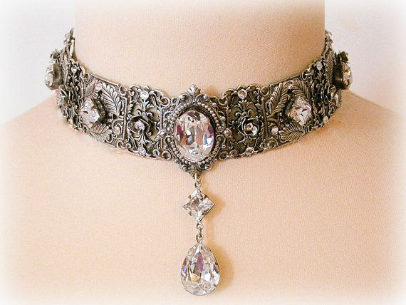 Swarovski Crystal Choker Necklace Victorian Choker Bridal Necklace .