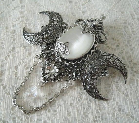 Crescent Moon Brooch victorian jewelry edwardian jewelry art | Et