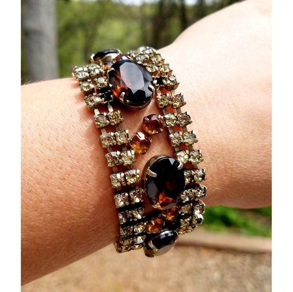 Antique Jewelry | Vintage Costume Bracelet Amber Champagne | Poshma