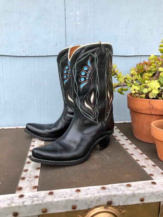 Black Vintage Cowboy Boots/ Cowgirl Boots/ Vintage Acme Cowboy | Et