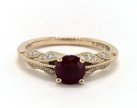 1.23 Carat Ruby Round Cut Vintage Engagement Ring in 18K Yellow .