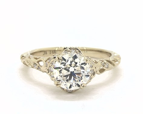 1.51 Carat Round Cut Vintage Engagement Ring in 14K Yellow Gold .