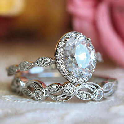 Real 14K White Gold 2.00 Ct Oval Diamond Halo Vintage Engagement .