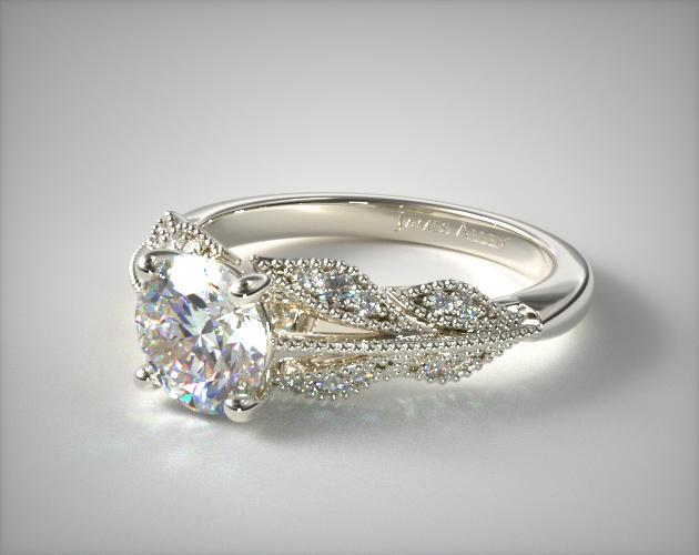 14K White Gold Vintage Inspired Floral Bouquet Engagement Ri