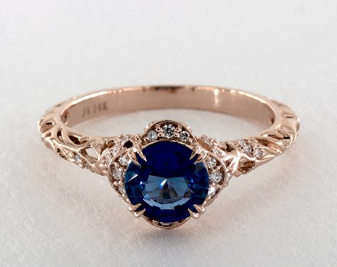 1.41 Carat Blue Sapphire Round Cut Vintage Engagement Ring in 14K .
