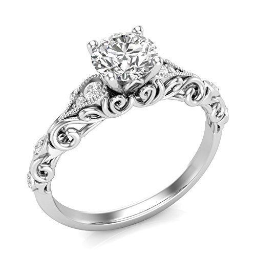 Amazon.com: 14K White Gold Vintage Engagement Ring Filigree .