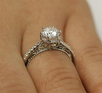 Certified 1.30ct Near White Moissanite Vintage Engagement Ring in .