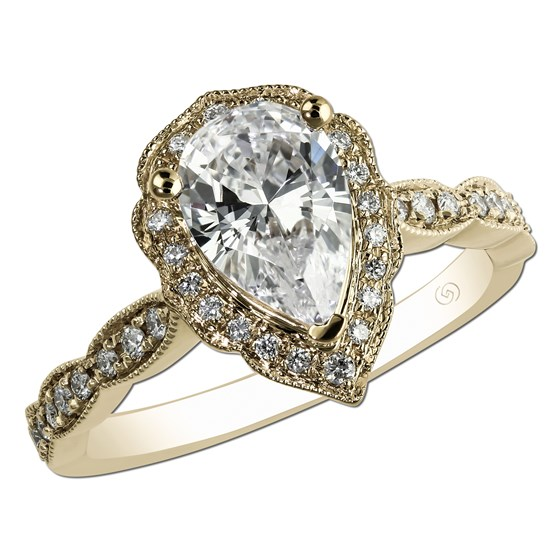 Yellow gold vintage engagement ring with pear shape diamond - Paul .