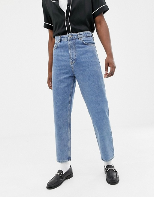 ASOS DESIGN high waisted jeans in vintage mid wash blue | AS