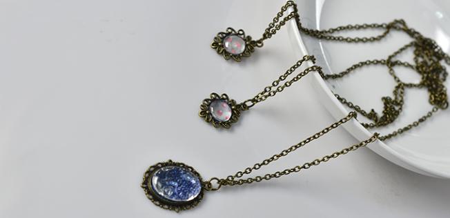 DIY Simple Vintage Cabochon Pendant Chain Necklace | Jewelry Pendan
