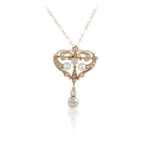 Victorian Era Diamond and Pearl Pendant/Brooch | The Eleanora – Atiq