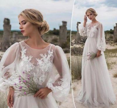 Bohemian Wedding Dress Long Sleeves Vintage Country Tulle Bridal .