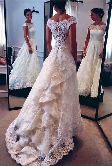 Lace Wedding Dress,Mermaid Cheap Wedding Dress, Vintage Wedding .