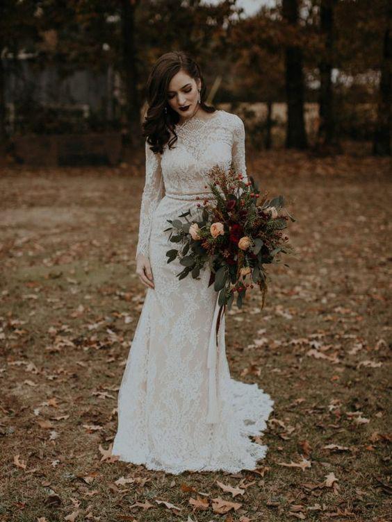 Long Sleeve Vintage Wedding Dresses Backless Rustic Lace Wedding .