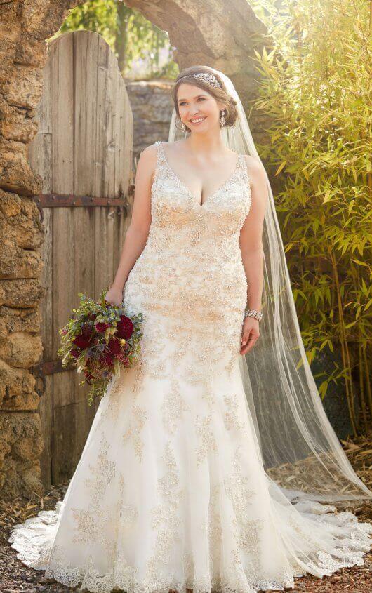 Wedding Dresses   Pearl Plus Size Beaded Vintage Wedding Gown .