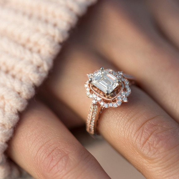 Vintage Halo Diamond Engagement Ring | Shane C