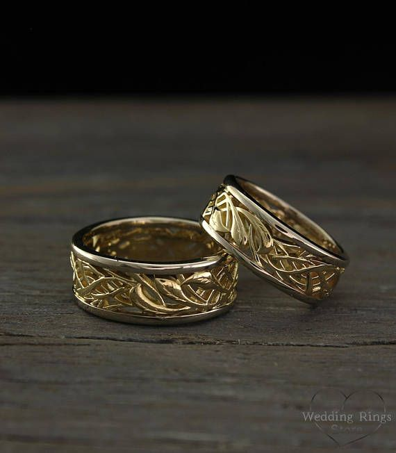 His and Her vintage style wedding bands set, Two tone gold braided .