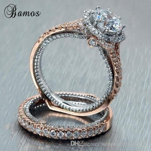 2020 Luxury Female Ring Set Luxury 18KT Rose Gold Filled Ring .