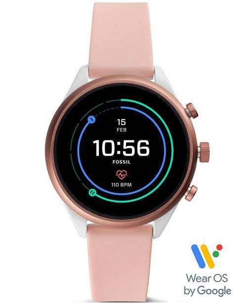 Fossil Women's Sport HR Blush Silicone Strap Smart Watch 41mm .