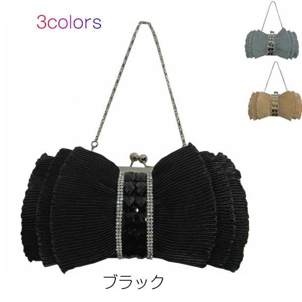 tropical-moon: Party bag formal bag ladies Ribbon Black Black .