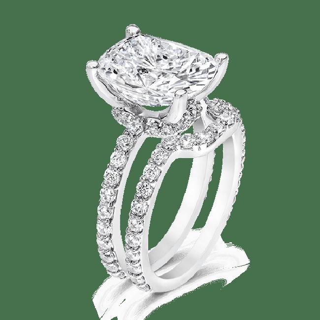 Oval Cushion 5.0 Carat, 14K Wedding Ring S