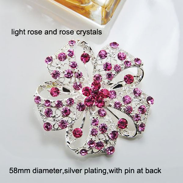 Modern Wedding Brooch With Indian Pink & Fuchsia Rhinestones .