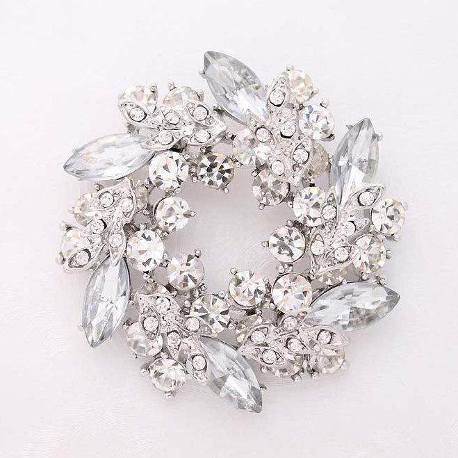 Silver Crystal Rhinestone Brooch, Bridal Brooch, Wedding Brooches .