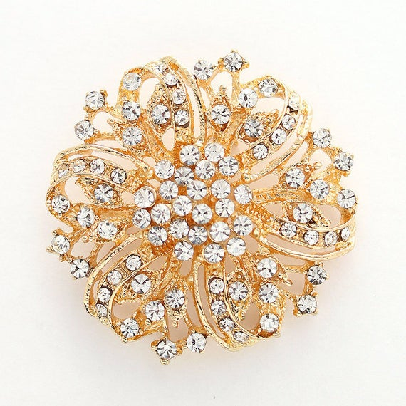 Crystal Rhinestone Brooch Gold Brooch Wedding Brooches | Et