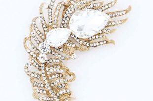 Rhinestone Feather Brooch, Gold Crystal Sash Brooch, Gold Wedding .