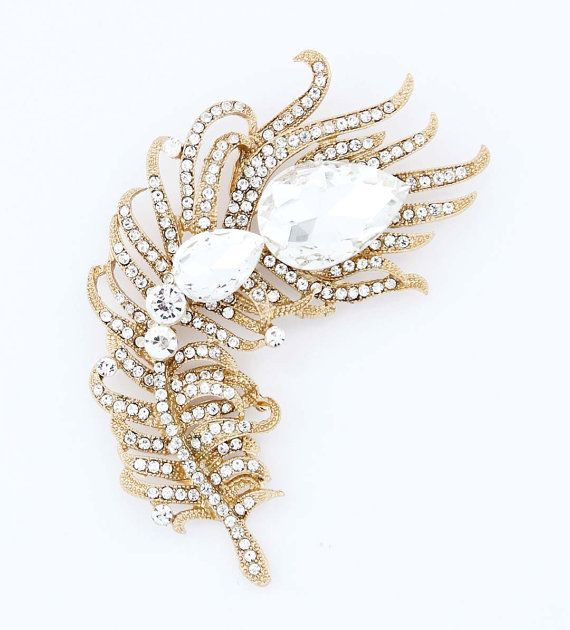 Rhinestone Feather Brooch, Gold Crystal Sash Brooch, Gold Wedding .