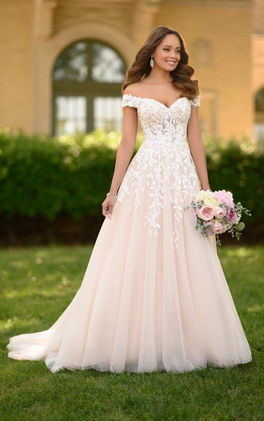 Romantic A-line Wedding Gown with Organic Leaf Pattern - Stella .