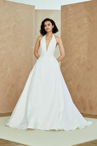 Taffeta Halter Neck A-line Wedding Dress | Kleinfeld Brid
