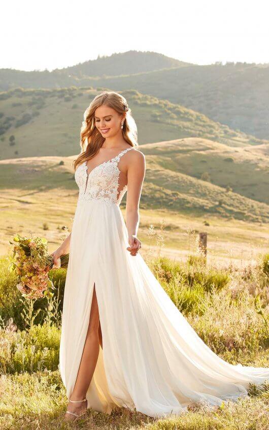 Summer Lace Wedding Dress with Sheer Bodice - Martina Lia