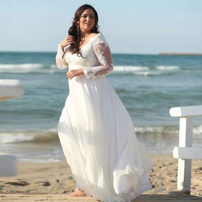Plus Size Lace Chiffon Beach Wedding Dress White/Ivory Long Sleeve .