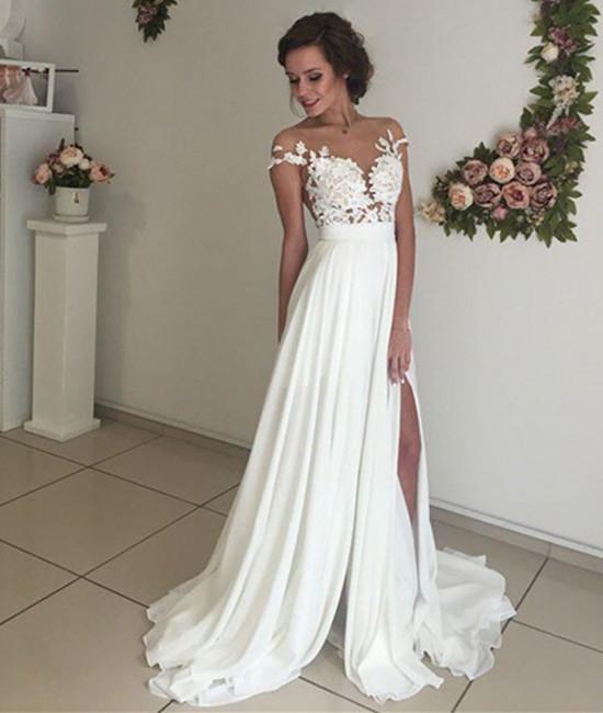 Elegant Lace Wedding Dresses, Beach Wedding Gown, Sexy See Through .