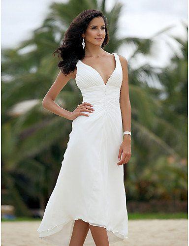 White chiffon beach wedding dress/tea length short wedding dresses .