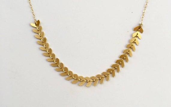 Gold Leaves Bridal Necklace Bride Gold Necklace Gold Bridal | Et