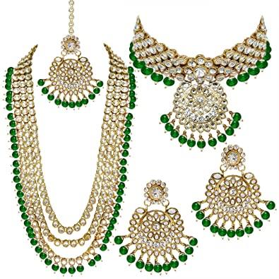 Amazon.com: Aheli Indian Wedding Kundan Beaded Bridal Long Choker .