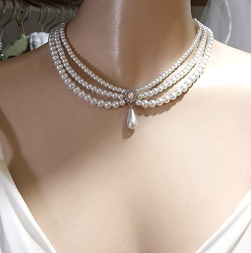 Amazon.com: Pearls Bridal Necklace Wedding Jewelry Pearls Necklace .