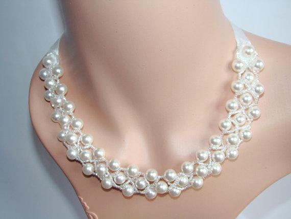 Chunky Necklace - Chunky Bridal Necklace - Wedding Necklace .